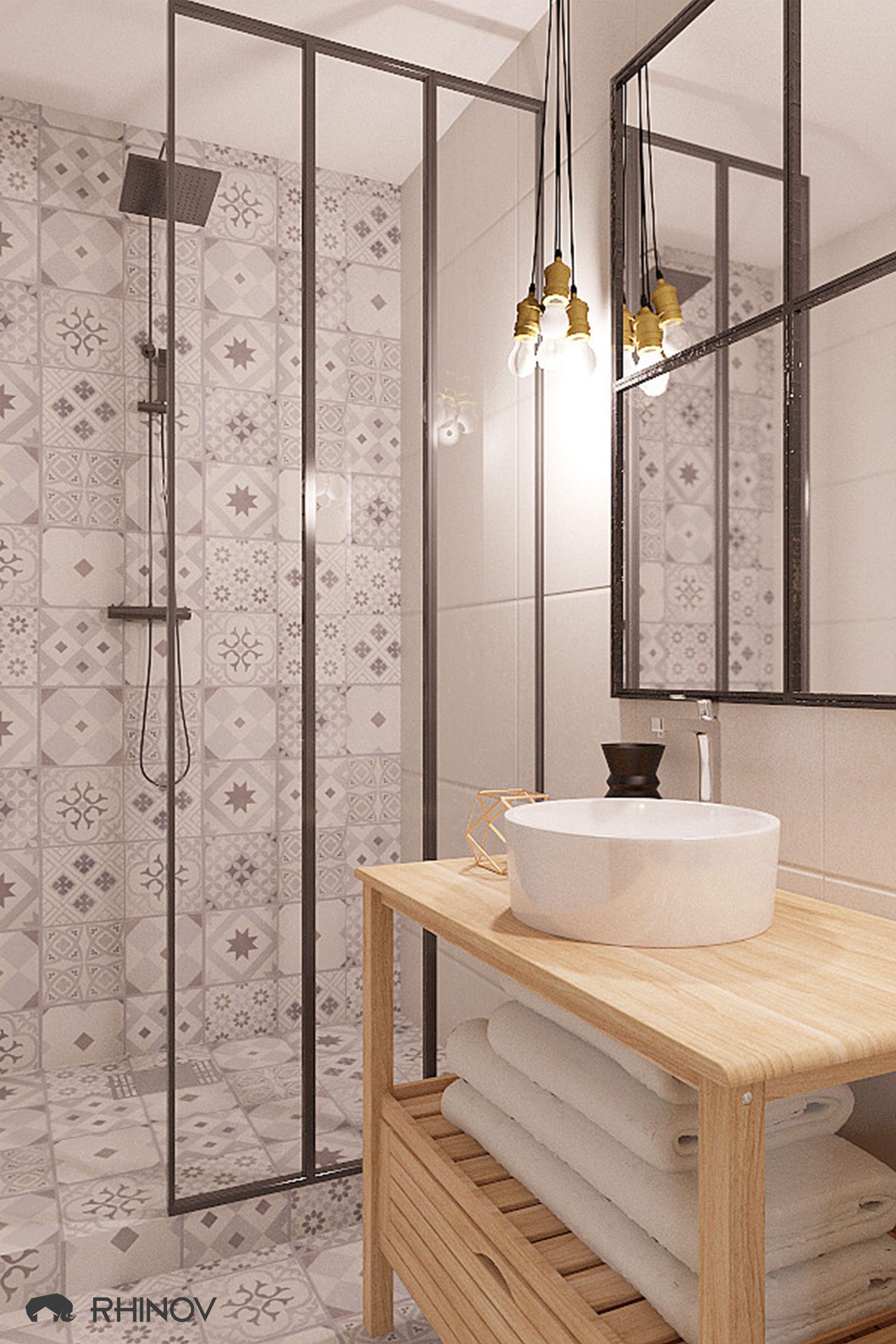 carreaux de ciment salle de bain idee