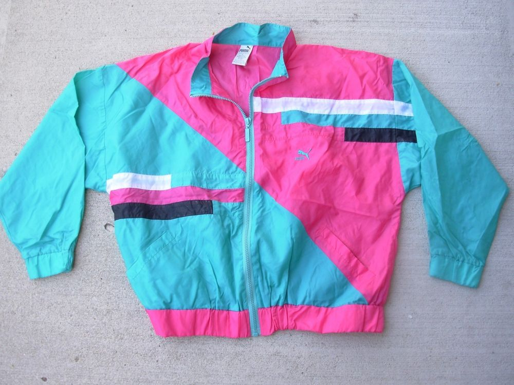 4f4f6d422e2 vintage Puma Windbreaker Color Block Tracksuit Jacket Pink Blue 80 s 90 s  mens L  PUMA  Windbreaker
