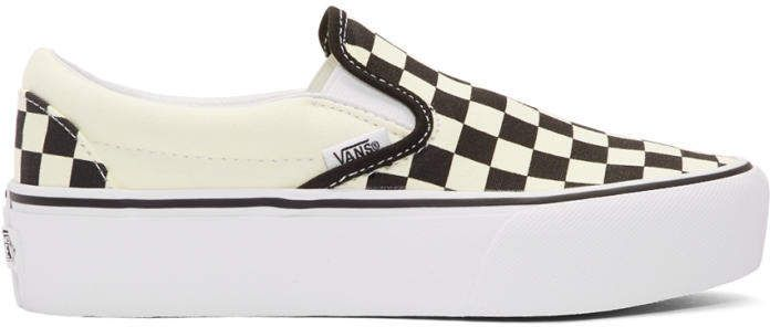 b1902bc929 Vans Off-White and Black Checkerboard Classic Slip-On Platform Sneakers ad