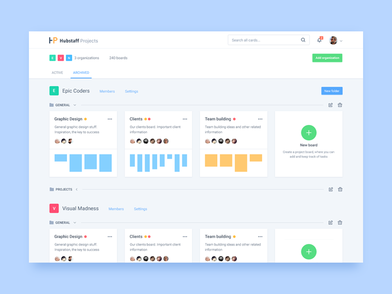Hubstaff Projects Organizations page by Adrian Goia