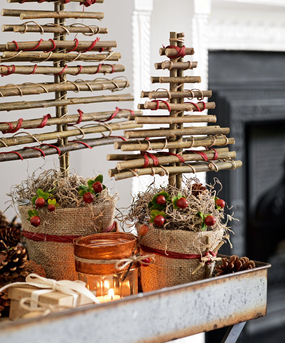 26 Budget Christmas Decorating Ideas From Christmas Crafts To Upcycling Easy Christmas Decorations Twig Christmas Tree Christmas Decor Diy