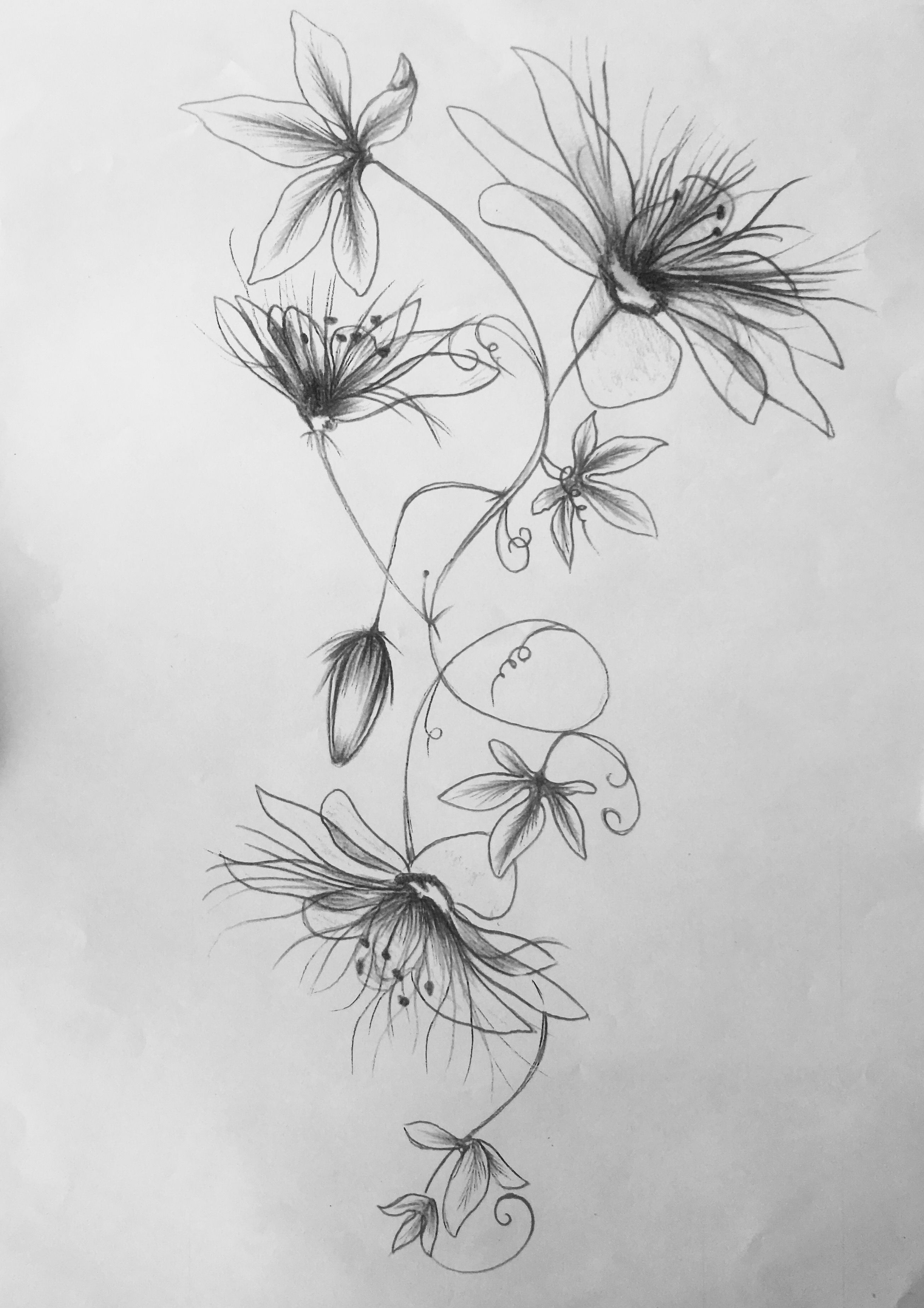 Tattoo passiflora flowers tattoo pinterest tatouage fleur tatouage et tatouage femme - Fleur tatouage dessin ...