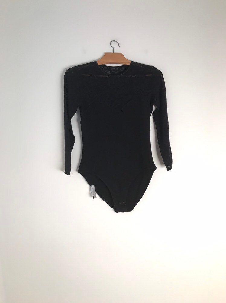 Vintage black longsleeve bodysuit
