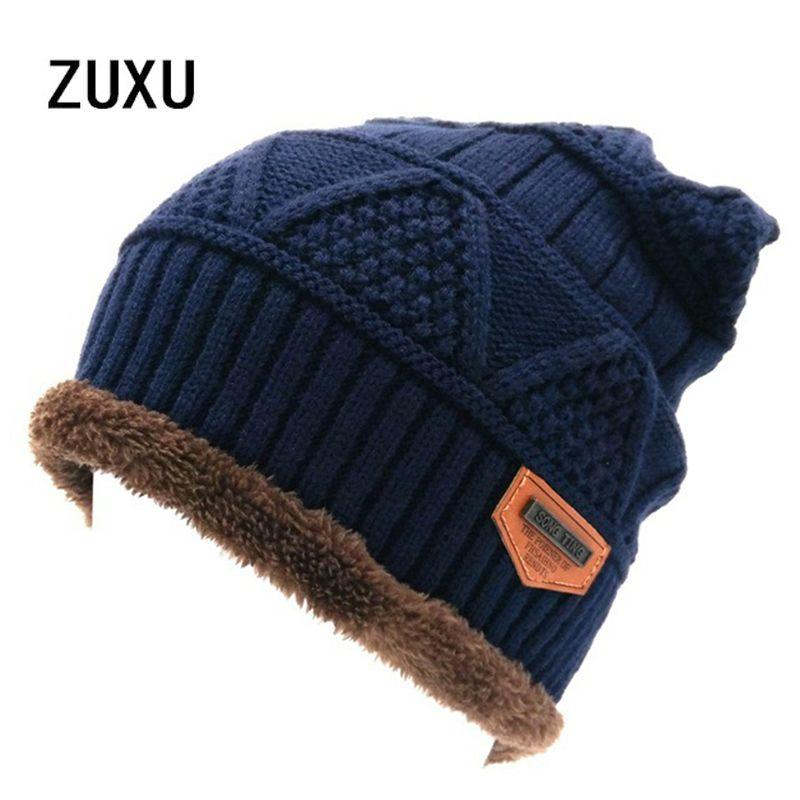 2bf54d3d95a Click to Buy    Men s Skullies Hat Bonnet Winter Beanie Knitted Wool ...