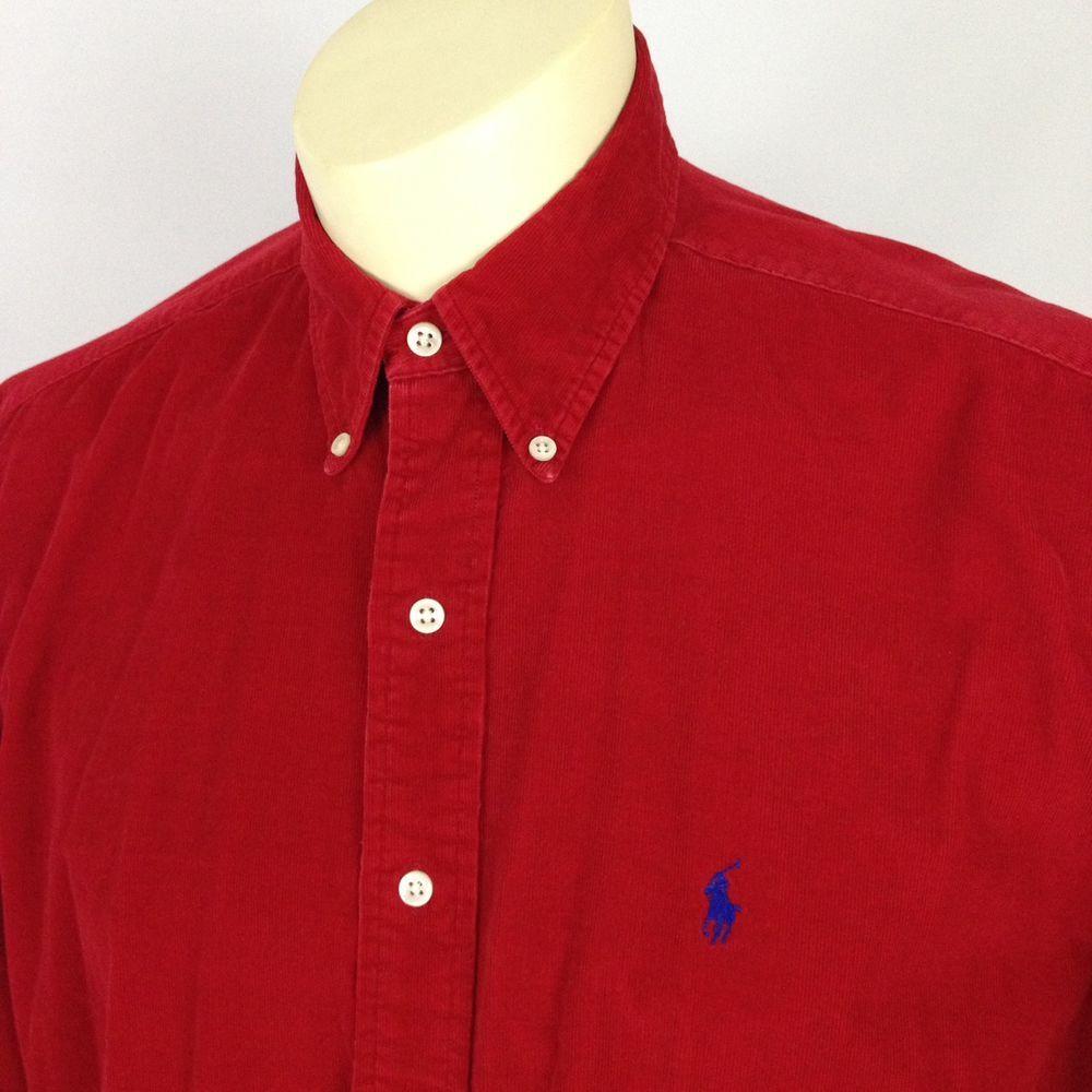 Ralph Lauren Blake Mens Large Corduroy Red Button Down Long