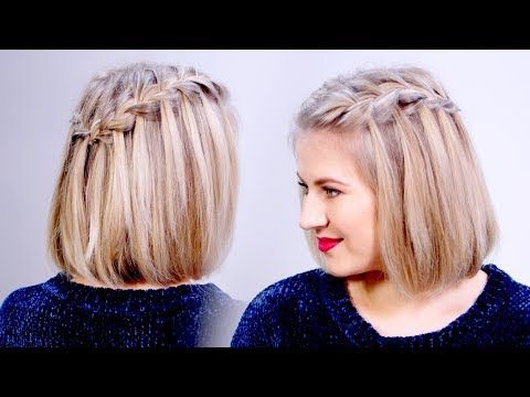 How To Waterfall Braid Crown Hairstyle For Short Hair Milabu Youtube Braid Crown Short Hair Cool Braid Hairstyles Braids For Short Hair