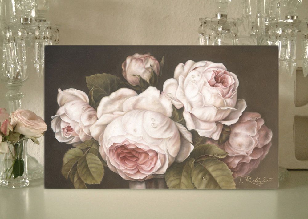 Rosen Bild Gemälde Shabby Chic rose braun Landhaus Vintage Thomas - esszimmer landhausstil braun