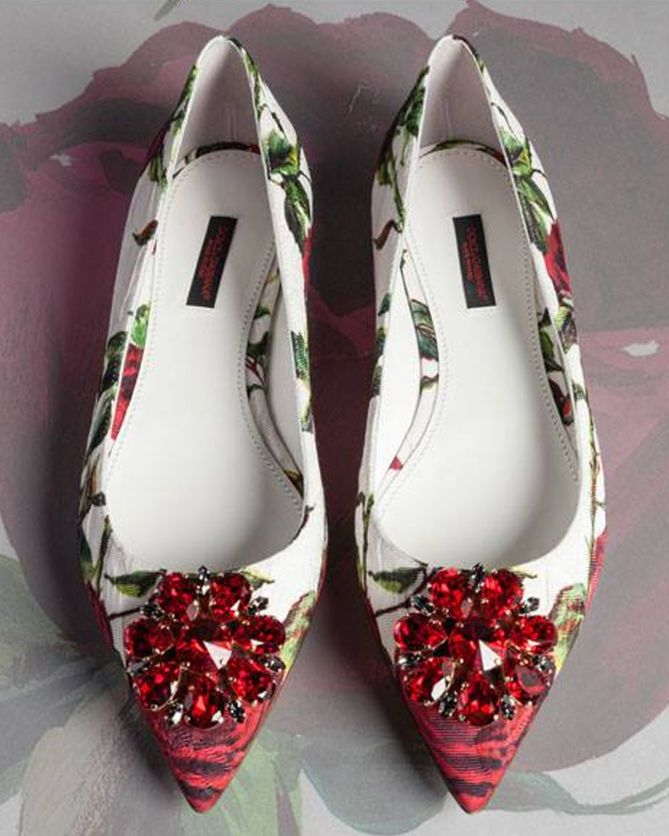 Dolce and Gabbana ROSE BROCADE BELLUCCI FLATS - Shoes Post
