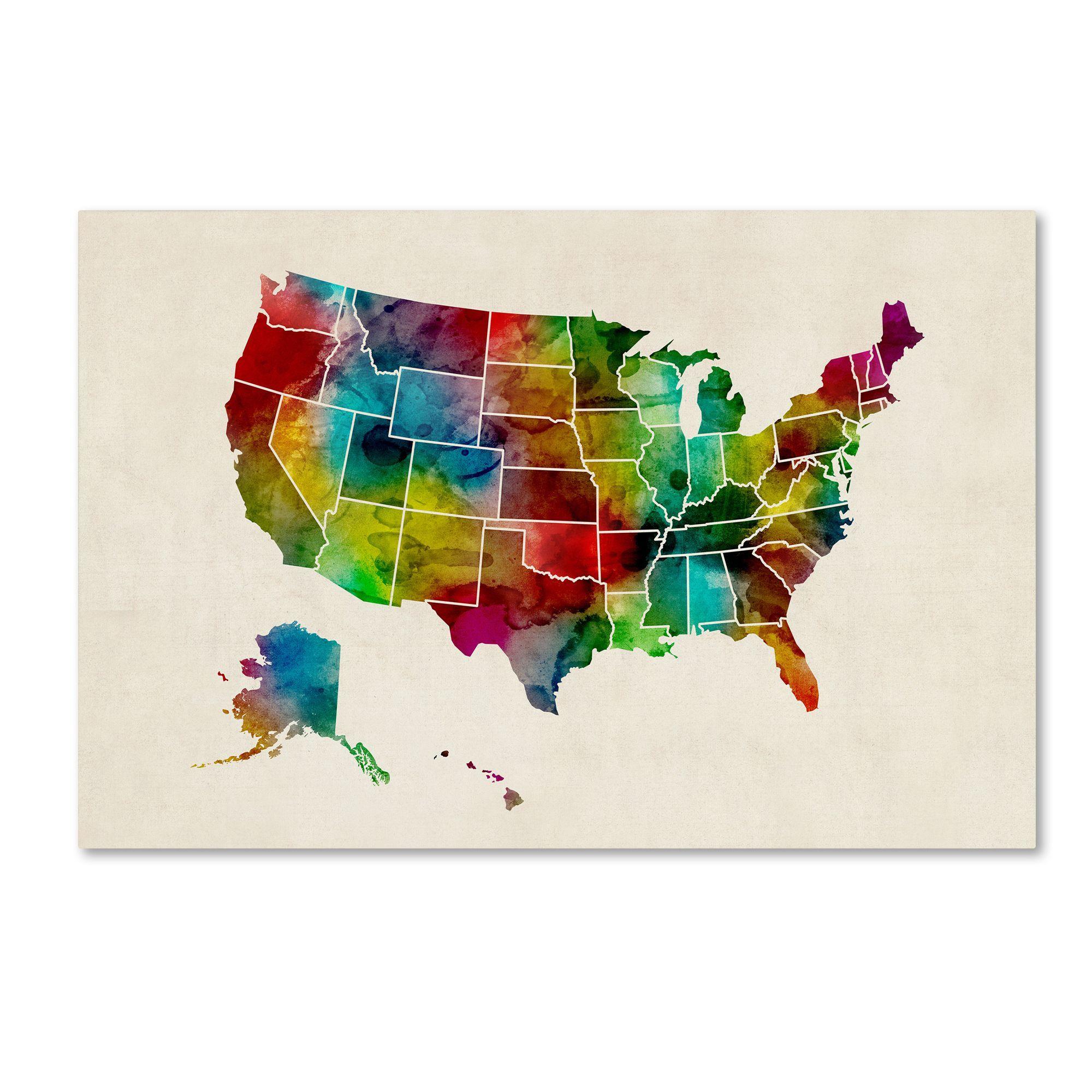Michael Tompsett United States Watercolor Map  Canvas Wall Art - United states watercolor map