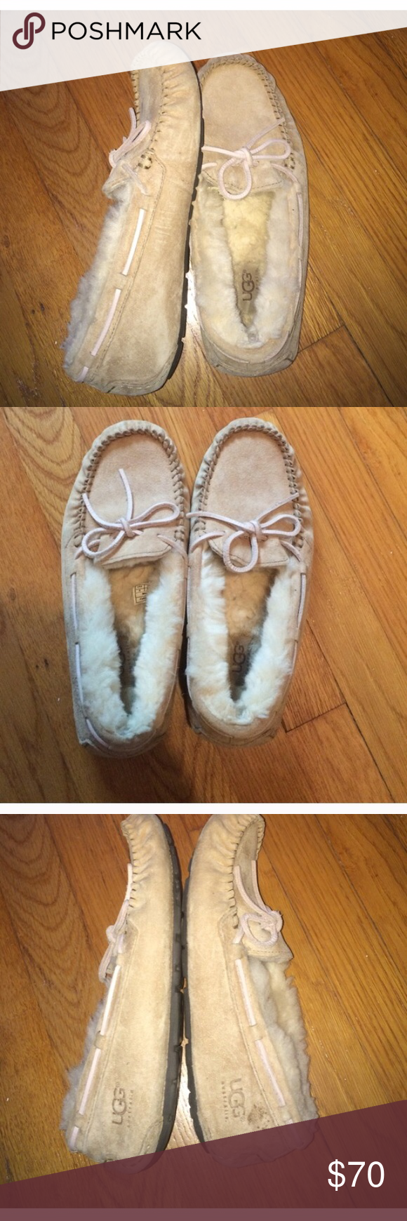 Pink and tan UGG moccasins UGG light pink and beige moccasin slippers, hardly worn Ugg Shoes