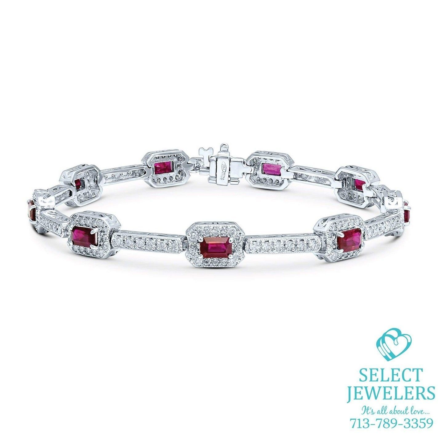 delicate franki ruby diamond heart tennis sterling silver bracelet crystals baker products cut