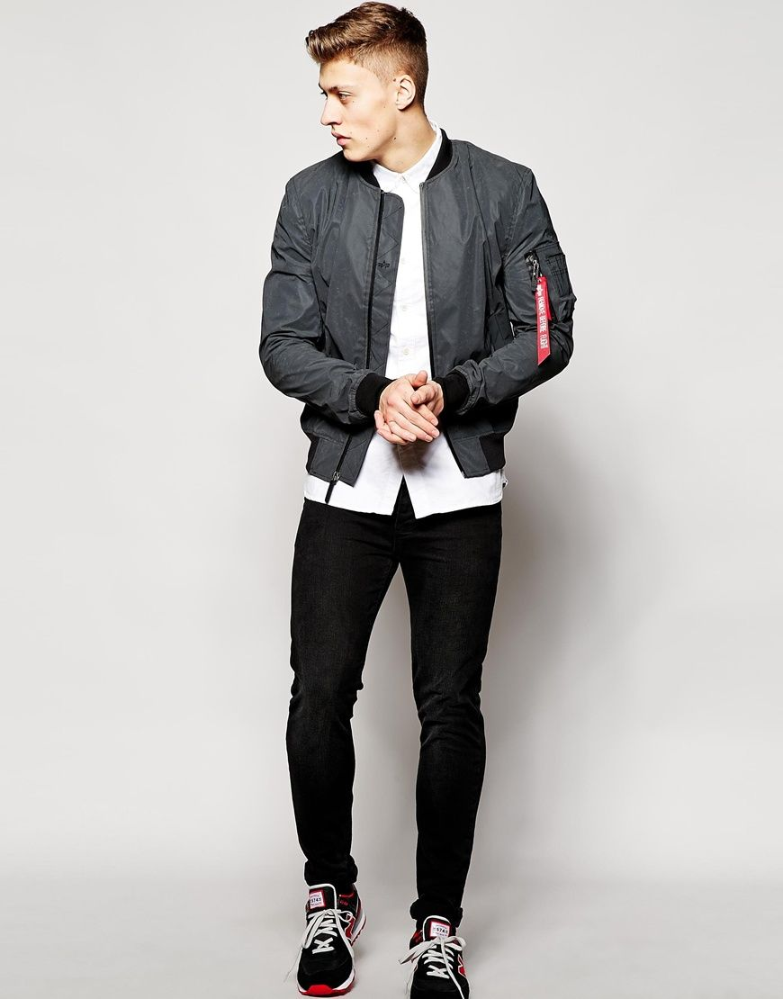 Image 4 of Alpha Industries MA1 Reflective Bomber Jacket Slim Fit ...