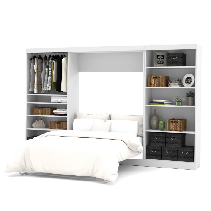 Best Bestar Pur Murphy Wall Bed With Two 5 Shelf Storage Units 400 x 300