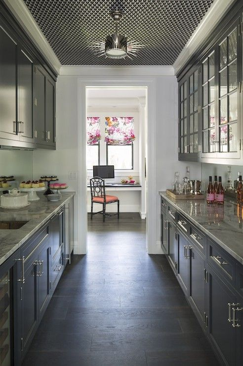 Galley Butlers Pantry With Soleil Small Pendant Hung From A Metal Grille Clad Ceiling Over