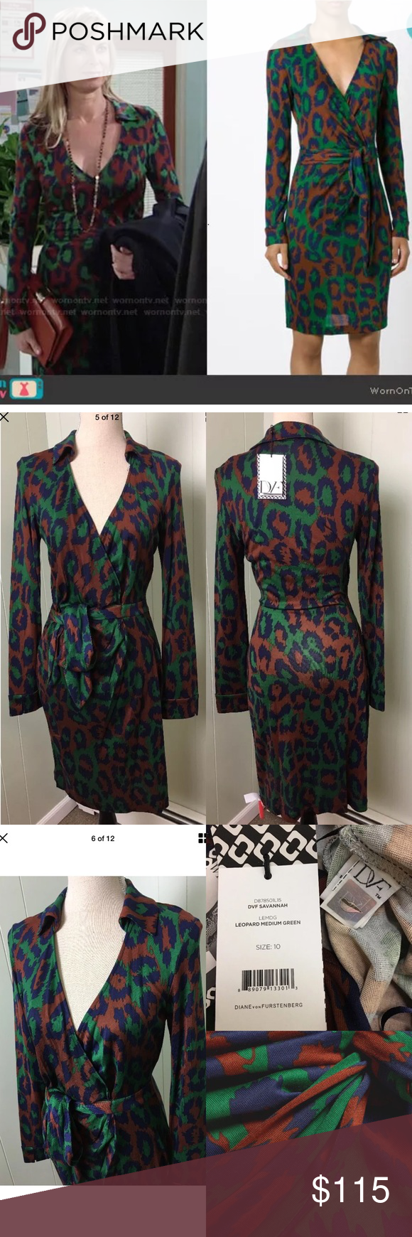 "Diane Von Furstenberg DVF Savannah Silk Dress Diane Von Furstenberg DVF Savannah Leopard Green Faux Wrap Silk Dress  Details:  Classic DVF ""wrap"" silhouette V-neckline Spread collar Long sleeves silk jersey 100% silk Unlined Laying Flat:  Length 38.5"", wrap waist 14.5"" armpit to armpit 17.5"" Color: Green, blue and brown. Diane von Furstenberg Dresses Mini"