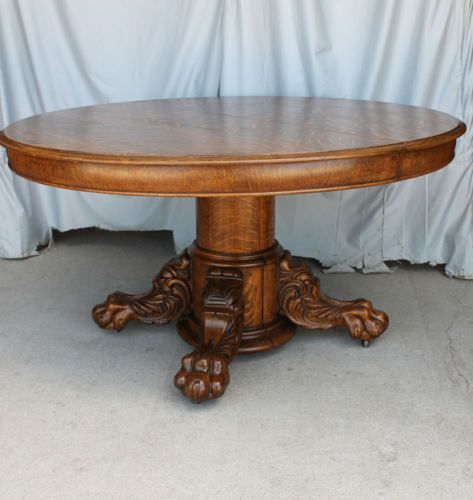 Antique Round Oak Dining Table – large carved claw feet - with Original Leaves