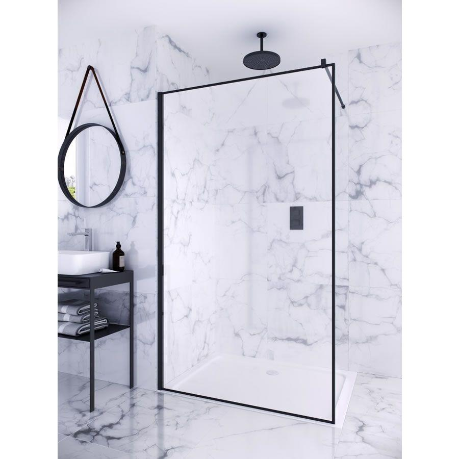 Aqata Matte Black Collection Wet Room Shower Screen - 1000mm #wetrooms