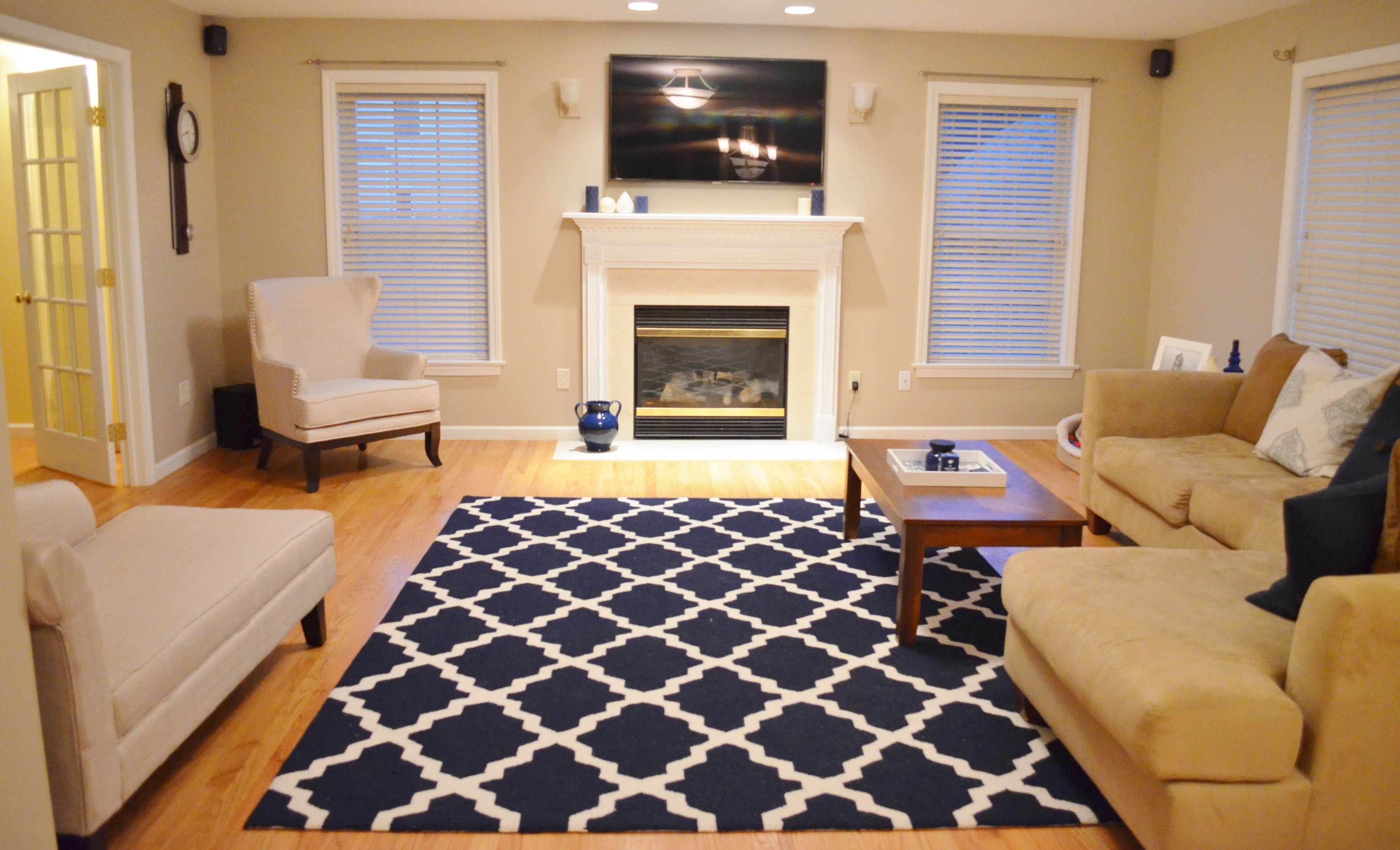 Featuring rugs usa navy blue moroccan trellis area rug for Navy blue carpet living room