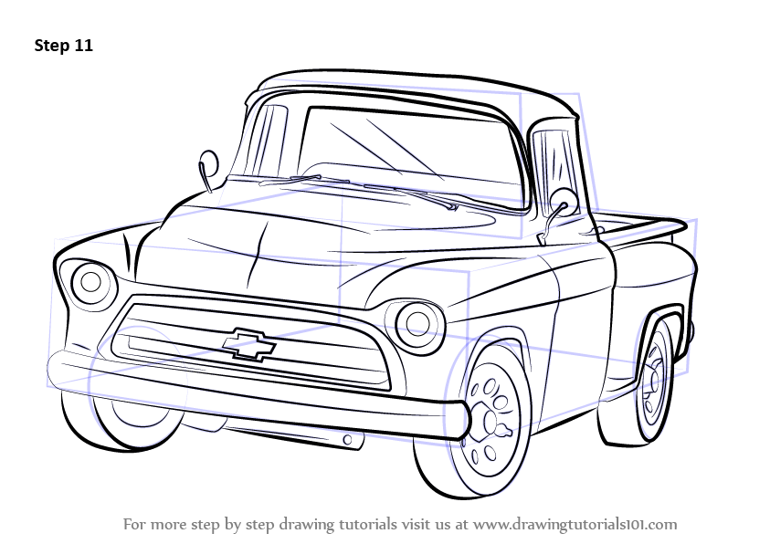 How To Draw A 1955 Chevy Truck Drawingtutorials101 Com