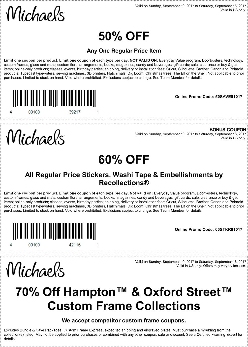 50% off a single item at Michaels, or online via promo code ...