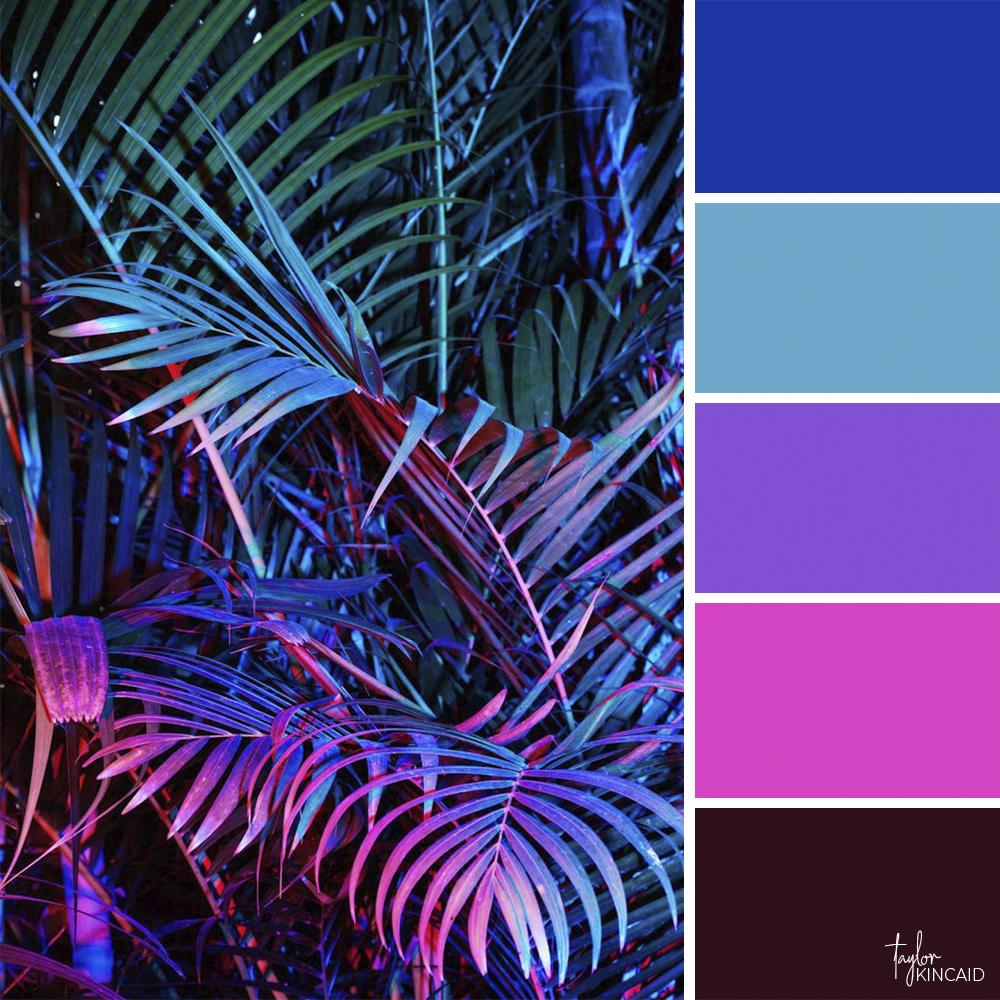 Neon Palm Leaf Color images
