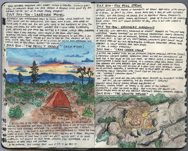 Page from Kolby Kirk's Pacific Crest Trail Journal.