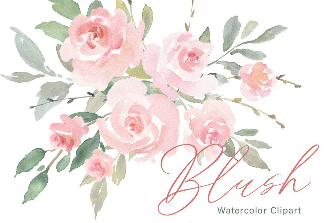 Pink Blush Watercolor Flowers Roses Png Collection 176474 Illustrations Design Bundles Floral Watercolor Pink Watercolor Flower Watercolor Flowers