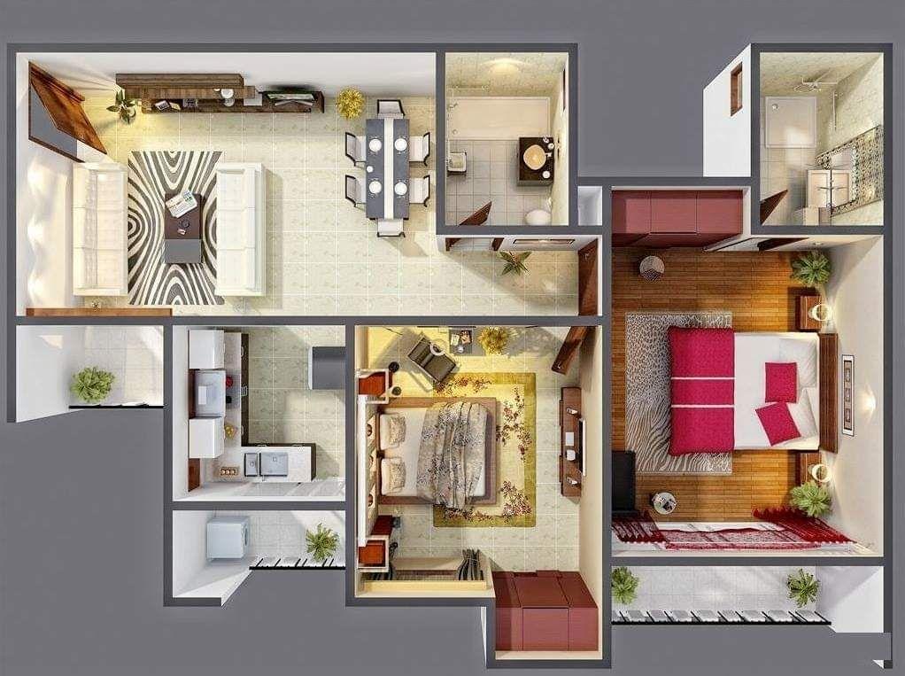 Amazing 3d Floor Plan Designs 1 Bedroom House Plans Two Bedroom House Three Bedroom House Plan