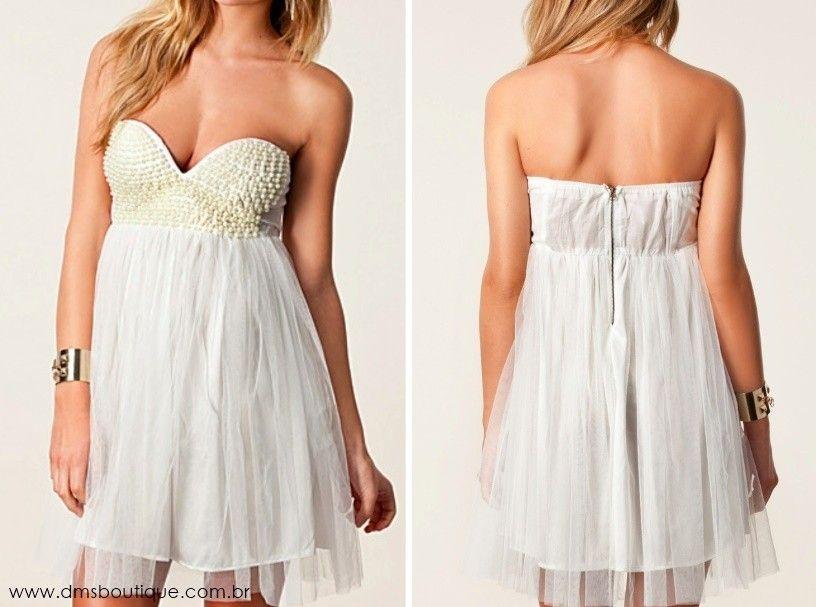 Vestido Bordado com Pérolas - Vestidos | DMS Boutique