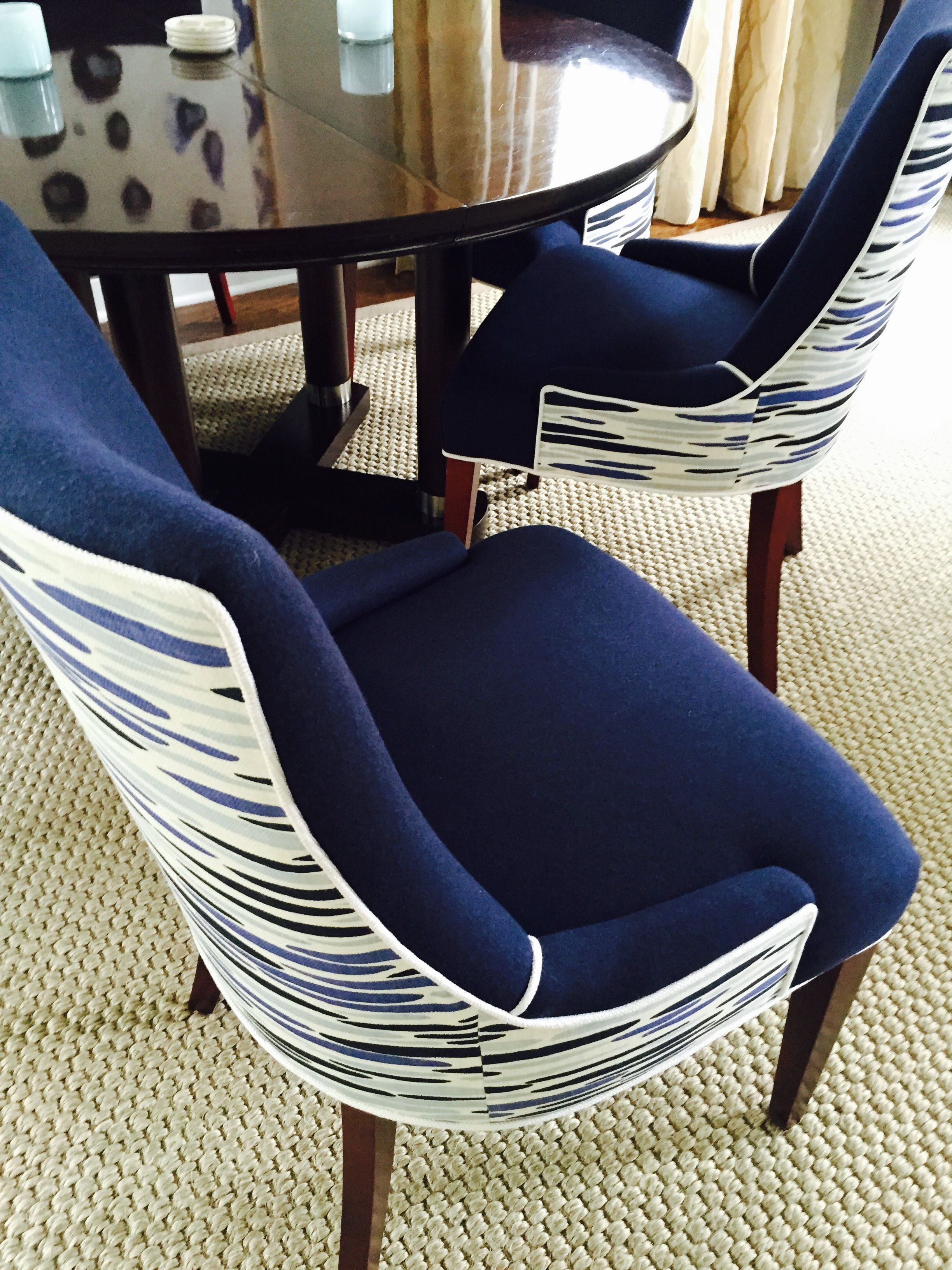 Leopold Group Designed Custom Upholstered Dining Chairs In Lulu Dk Fabric Robert Allen Wool Blazer Navy Zimmer Rohde White Linen Contrasting Welt