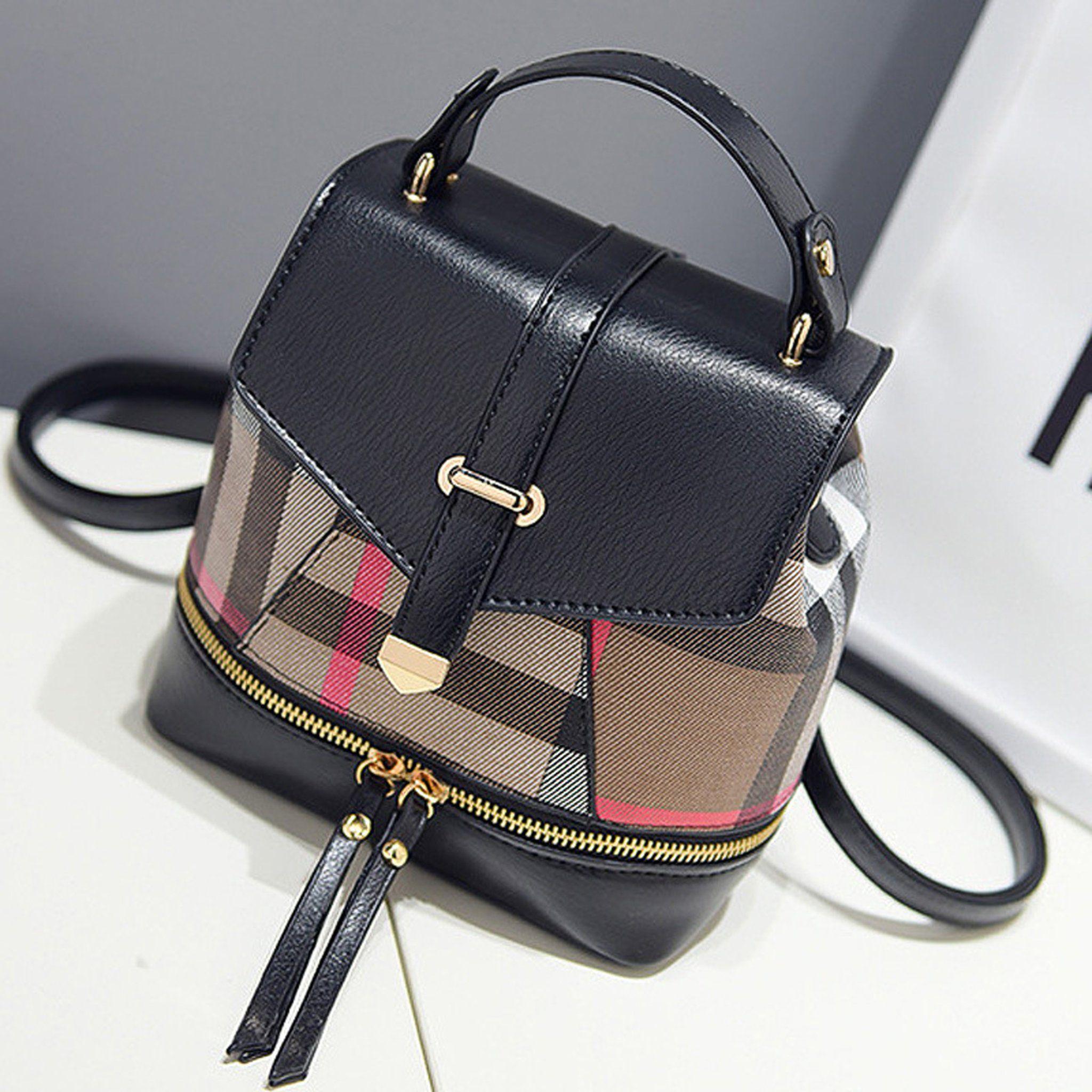 Dolca Cute Designer Pleather Mini Plaid Backpack Knapsack Purse Bag with  Gold Hardware - www.GlamantiBeauty.com 1e946673e1d19