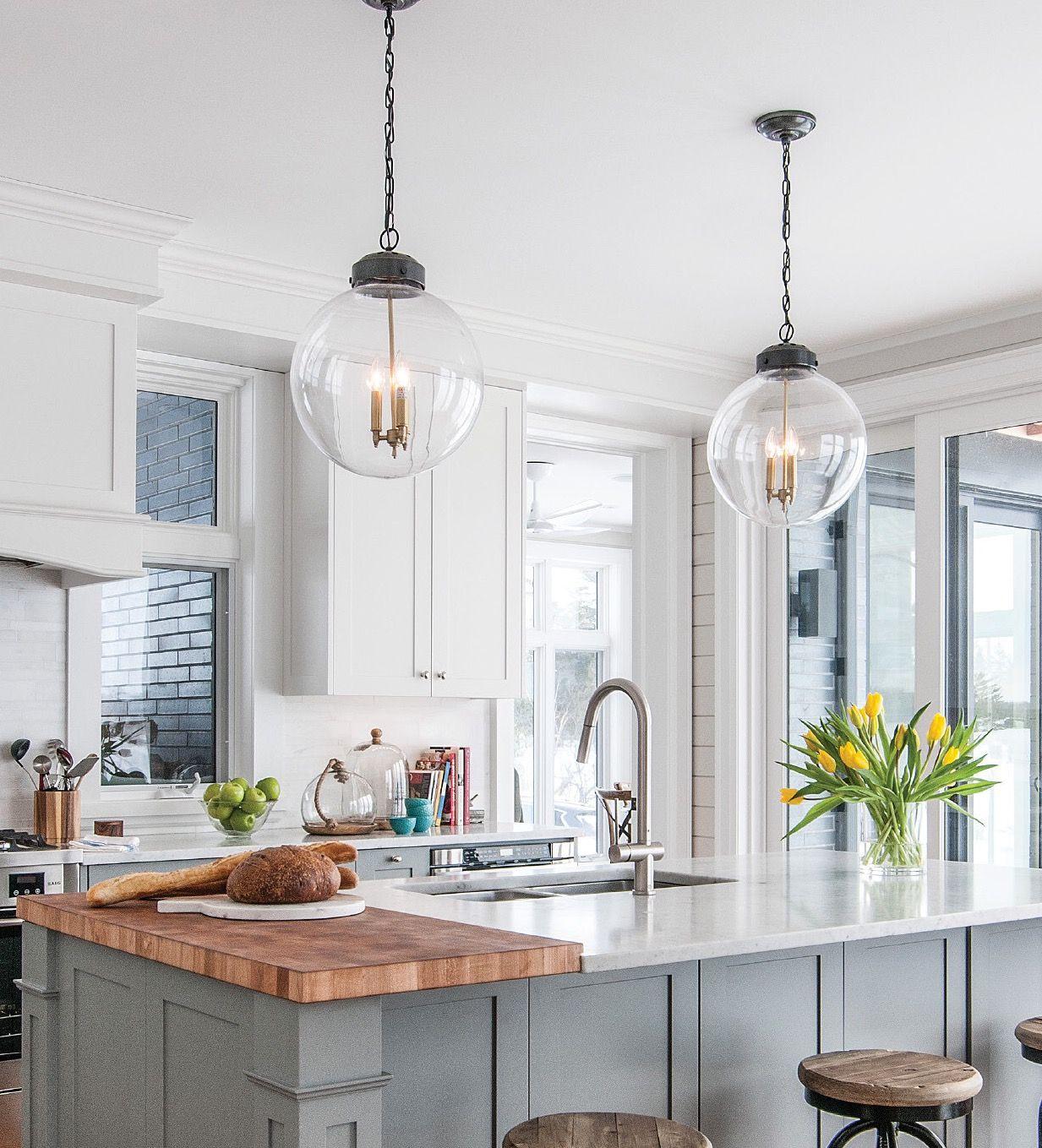 Best Light Gray Kitchen Island With Built In Butcher Block 640 x 480