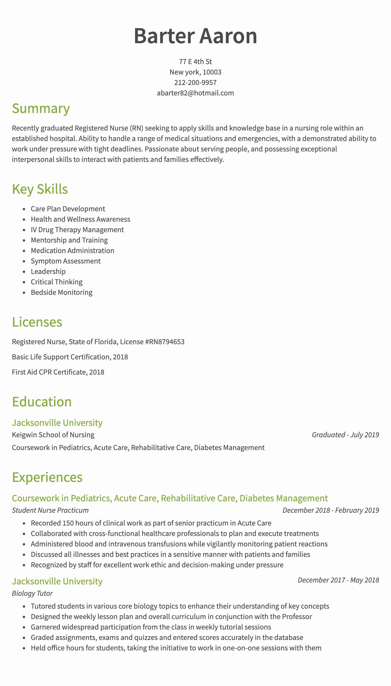 25 Nursing Clinical Experience Resume in 2020 Registered