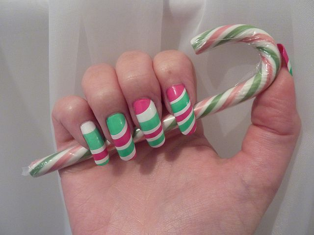 Candy Cane Christmas Xmas Water Marble Nail Art Design On Long Real