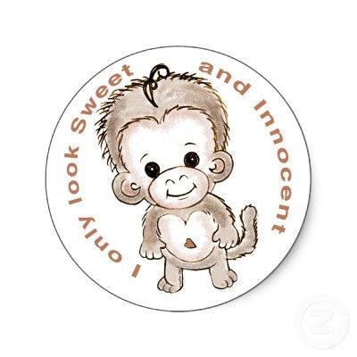 Sweet Monkey Sticker from http://www.zazzle.com/sock+monkey+stickers