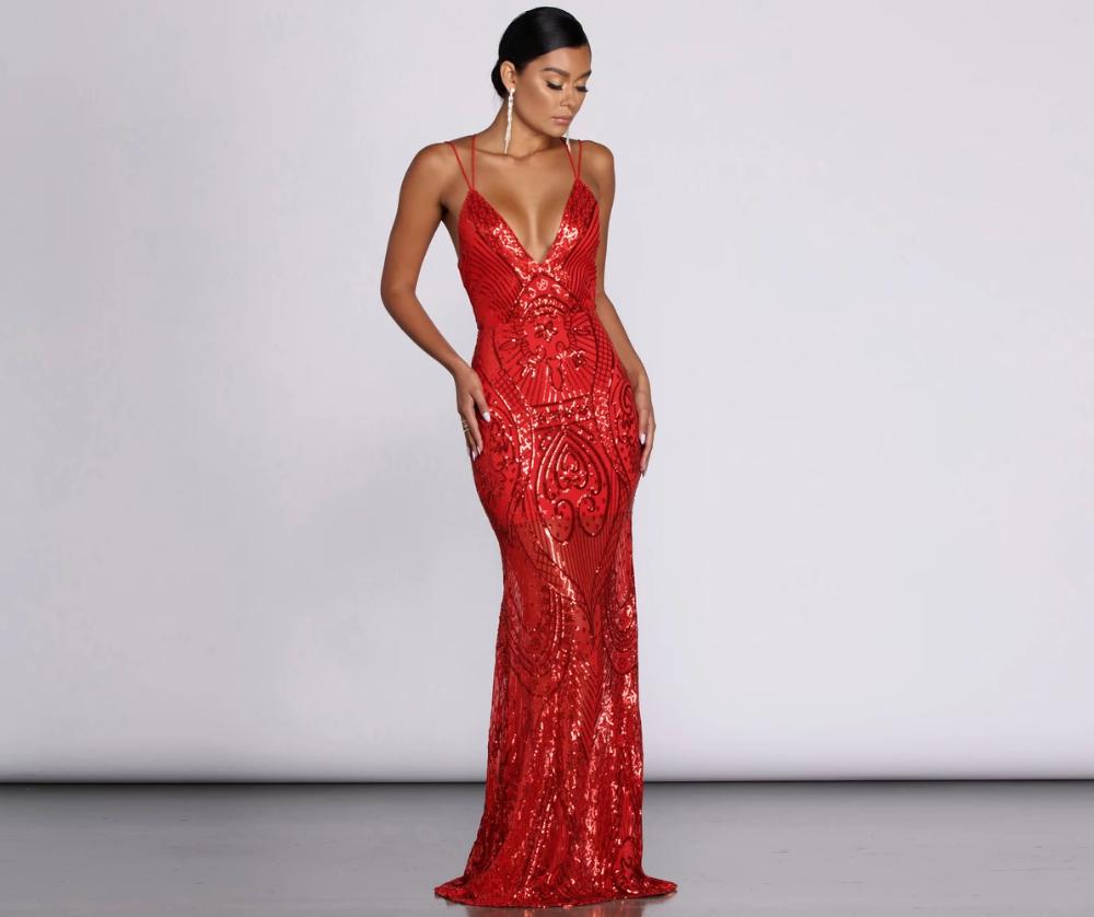 Salma Formal Sequin Scroll Print Dress Print Dress Dresses Fancy Dresses [ 838 x 1000 Pixel ]