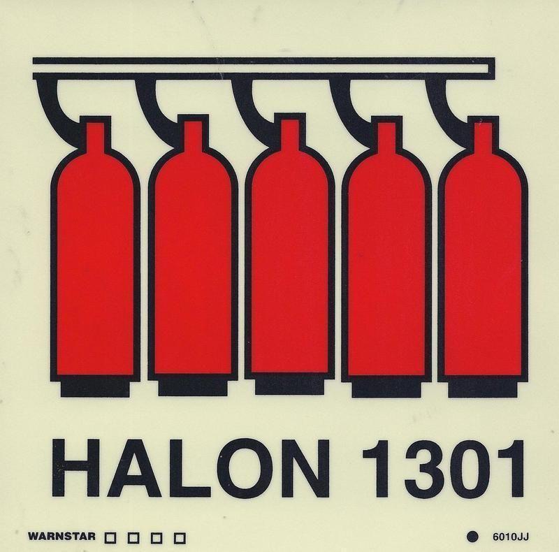 Marine Fire Sign, IMO Fire Control Symbol: Halon 1301 Battery