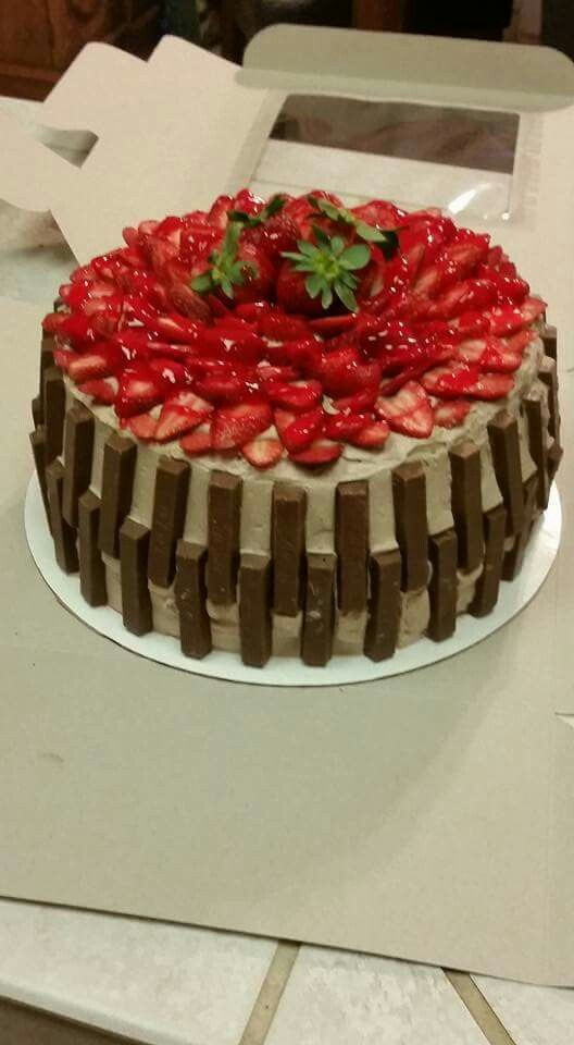 2016 Moms Birthday Cake Best Tasting Ive Ever Made Chocolate Filled With Glazed Strawberries Iced Whipped Cream Frosting And