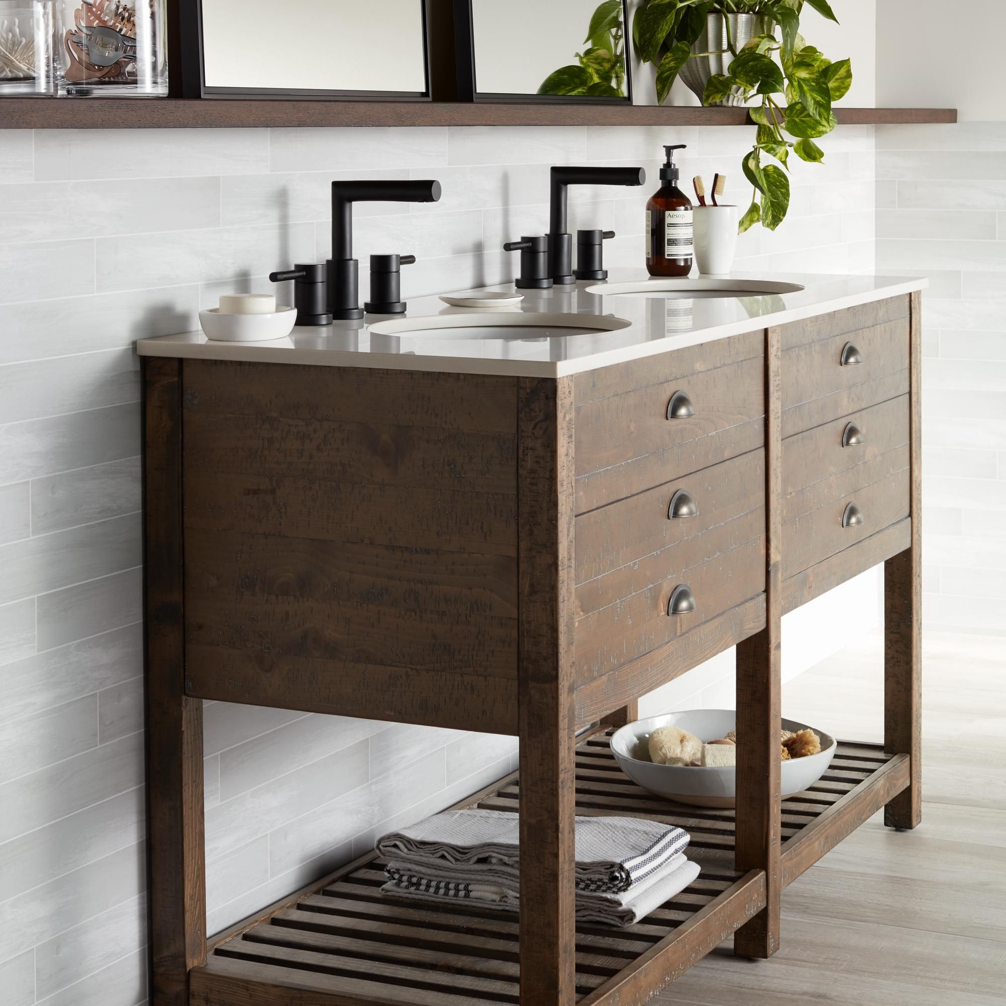 Crosett Cayhill 57 Inch Wide Cultured Marble Double Sink Vanity