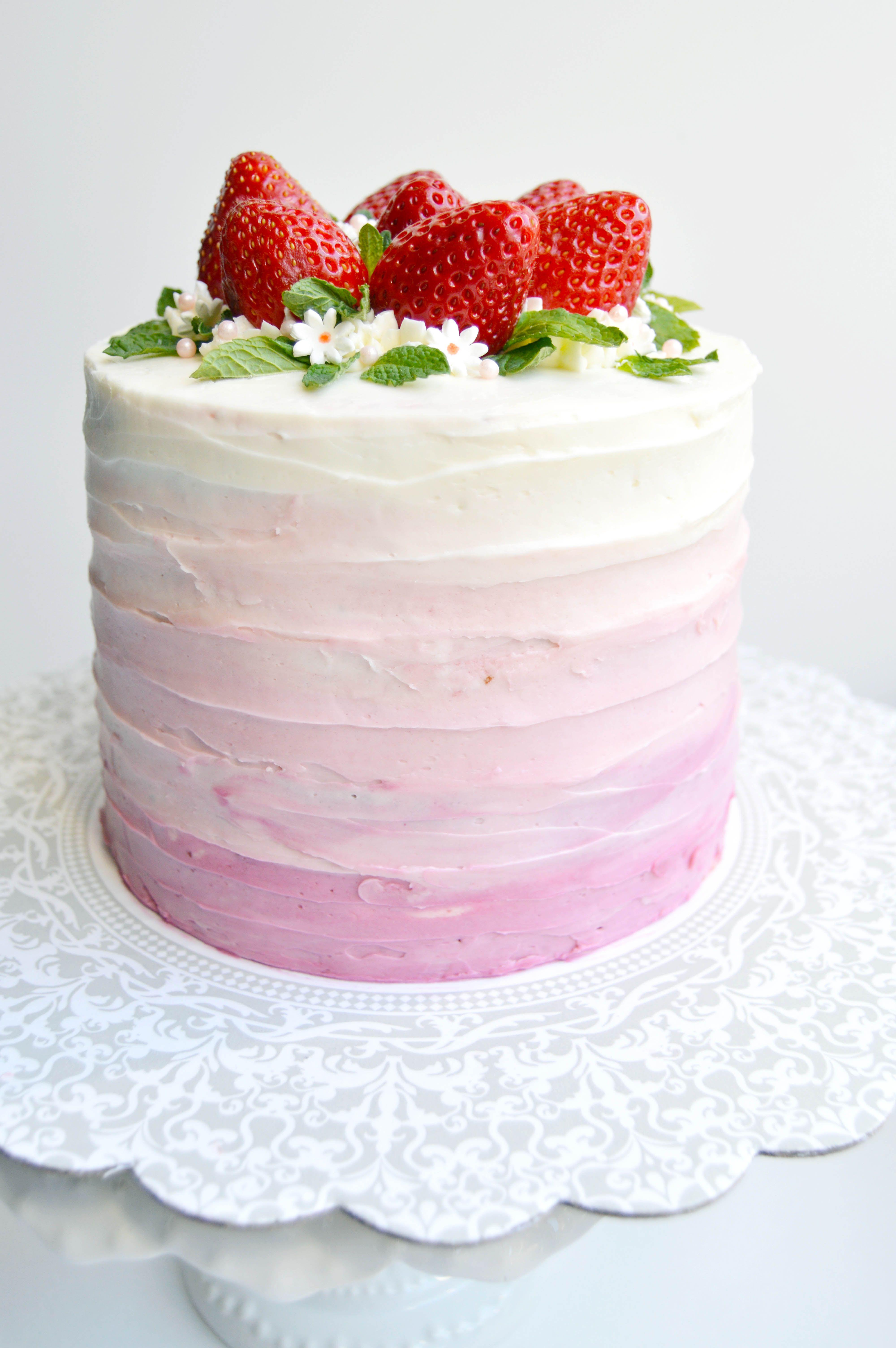 Strawberry Ombre Cake Cakes Cake Strawberry Cake