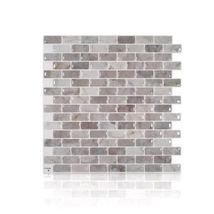 Smart Tiles Mandolia Alba 9 94 In W X 9 92 In H Beige Peel And Stick Self Adhesive Mosaic Wall Tile Backsplash 4 Pack Sm1156g 04 Qg The Home Depot Smart Tiles Mosaic Wall Tiles Tile