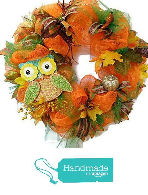 Fall Owl Wreath Fall Orange Deco Mesh With Fall Leaves Berries Wreath Country Mesh Wreath Fall Decor from Heart to Heart Creations https://www.amazon.com/dp/B01IMG8W1M/ref=hnd_sw_r_pi_dp_hNoNxbSM9QAN5 #handmadeatamazon