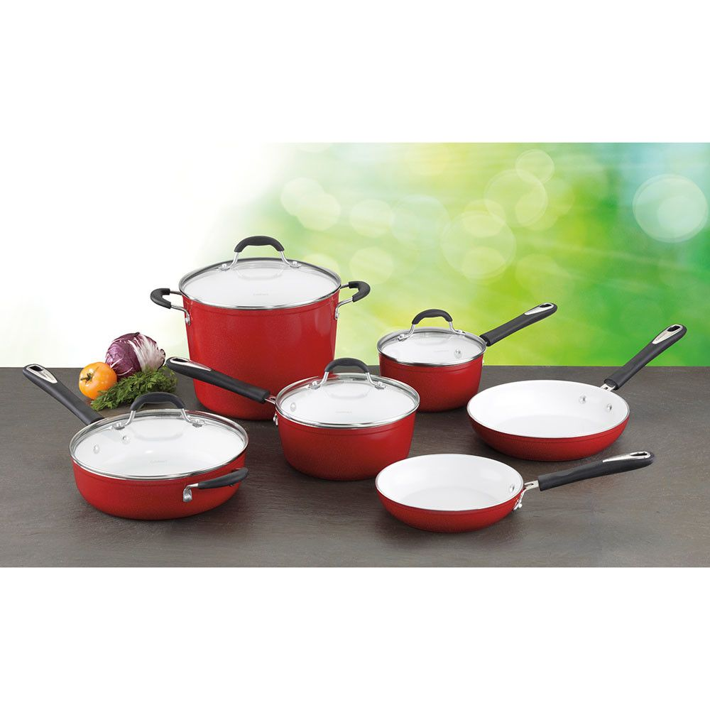 Cuisinart Elements 10 Piece Non Stick Ceramic Cookware Set With Images Ceramic Cookware Set Cookware And Bakeware Cookware Set