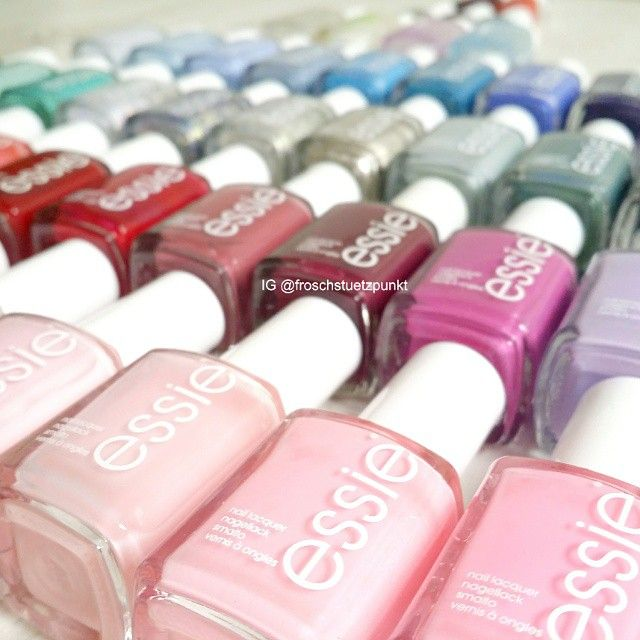 essie nail polish collection all lined up.