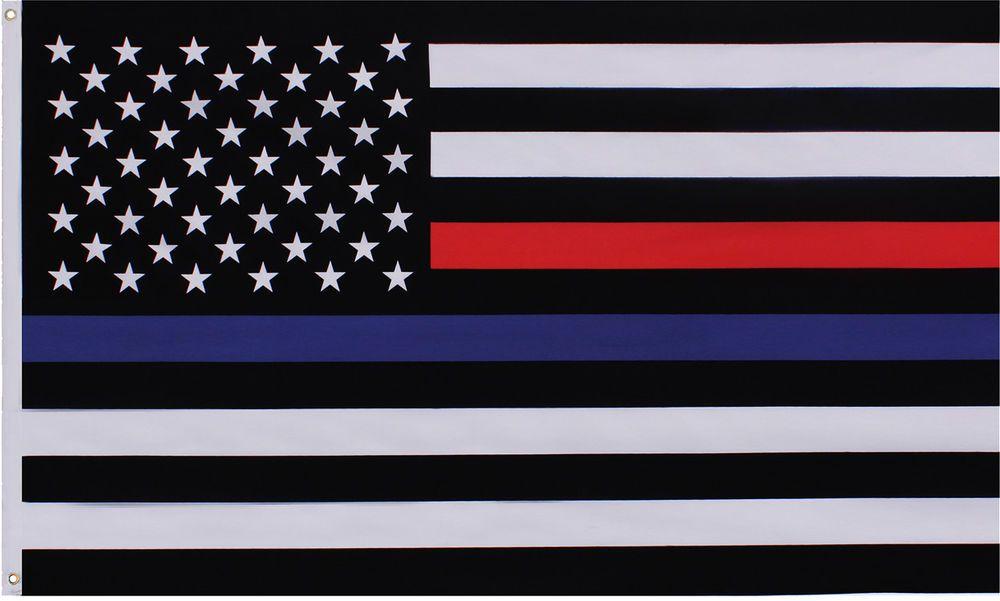Subdued Thin Blue   Thin Red Line USA American Flag 3  x 5   5b787111086