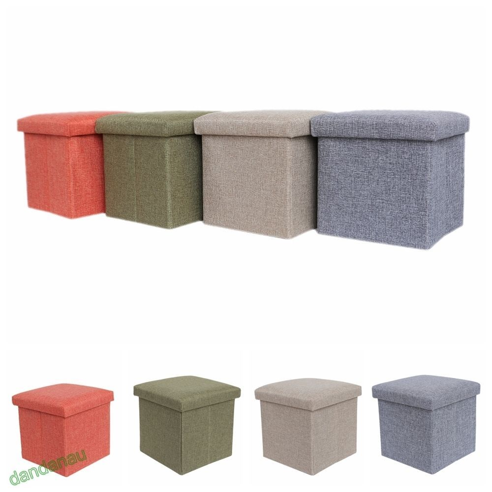 New ottoman #storage seat stool box #foldable #folding bench cube pouffe  toy seat - Square Foldaway Ottoman Storage Toy Box Pouffe Seat Foot Stool