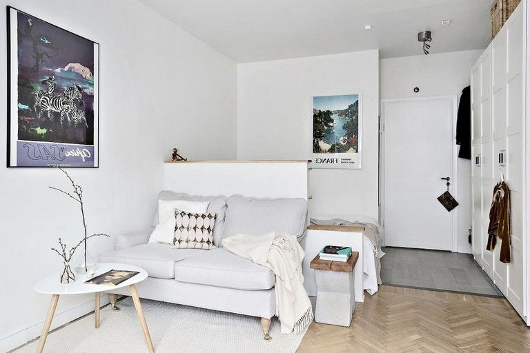 55 Awesome Studio Apartment With Scandinavian Style Ideas On A Budget Ap Small Studio Apartment Decorating Apartment Bedroom Decor Apartment Furniture Layout