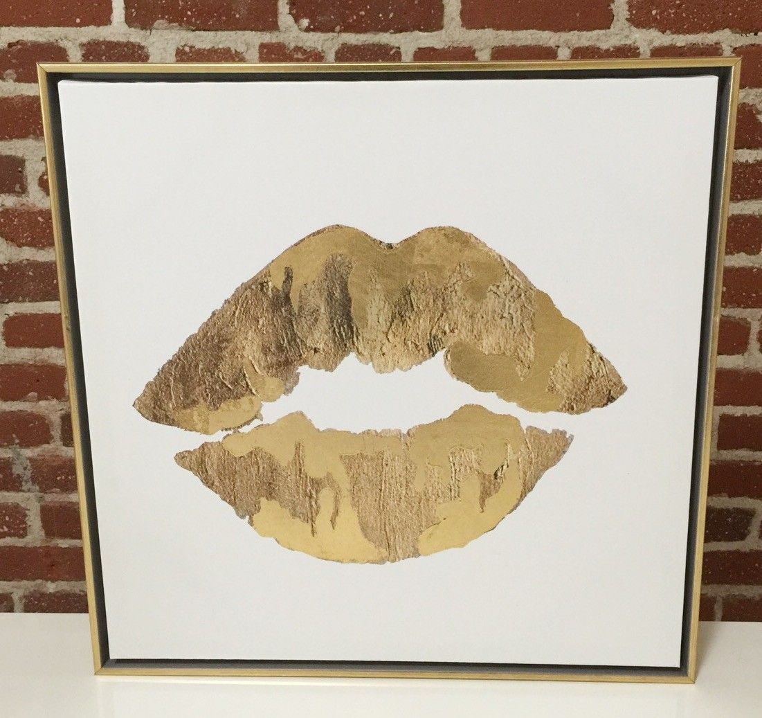 Metallic Gold Lips Canvas in Gold Frame - Home Decor
