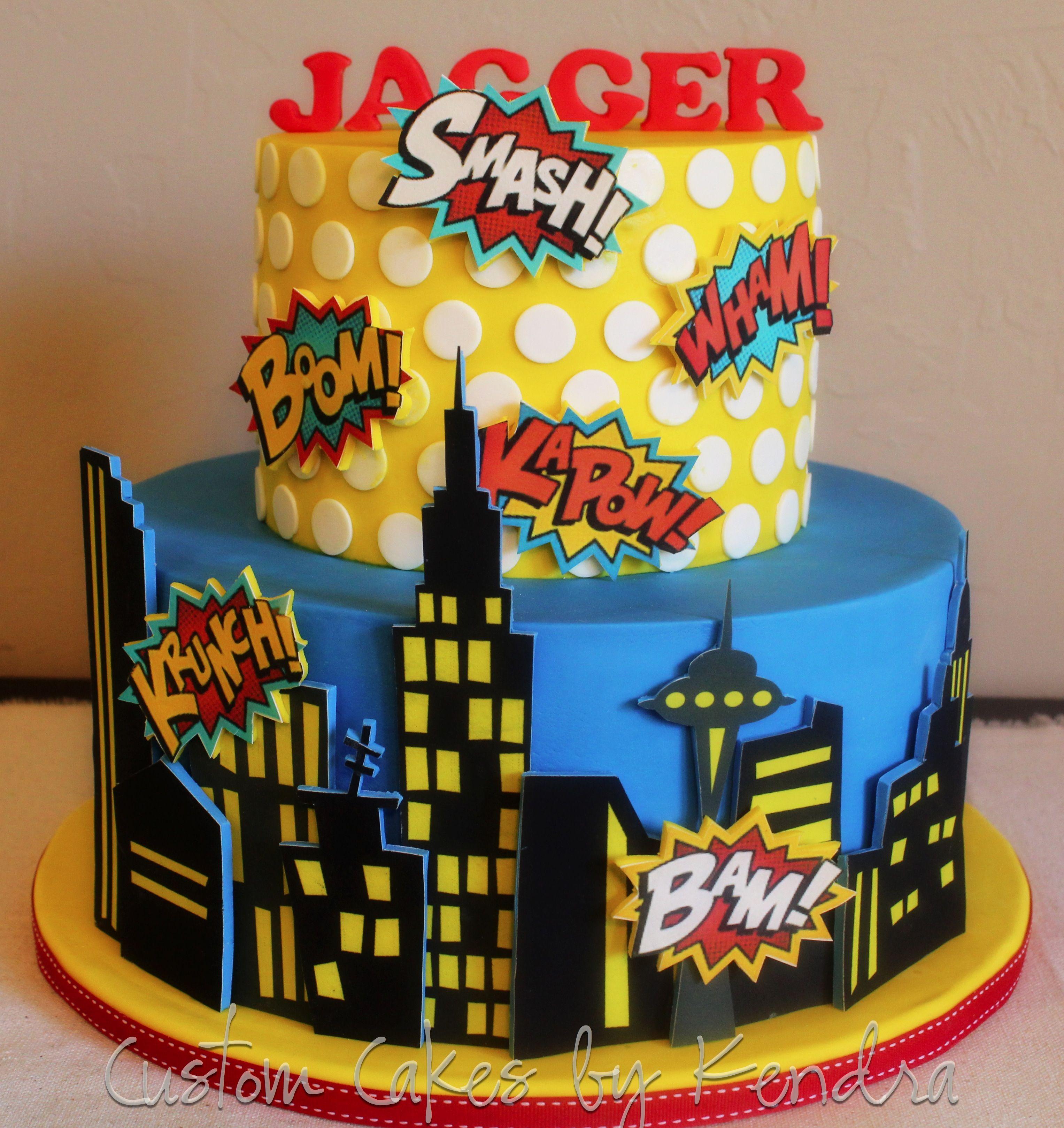 Comic Book Superhero With Images Superhero Cake Birthday Cake