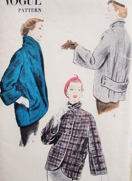 1950s Short Coat Jacket Pattern Vogue 7750 Cutaway Front Car Coat ...